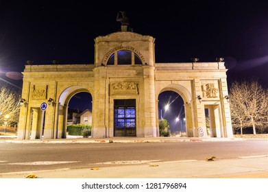 Villamayor, Salamanca (Spain). Janury of 2019. Night view of the urbanization Vega de Salamanca. you can see the arch of Triunfo al Cantero.