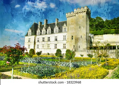 Villandry - castle of Loire - picture in painting style
