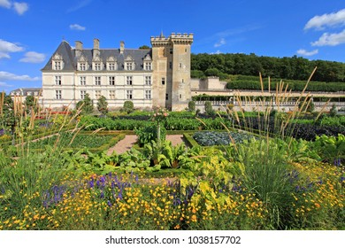 Villandry, France - July 30 2017: Palace and gardens, Villandry, castle of the Loire