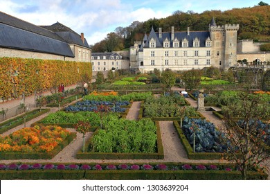 Villandry, France, October 25 2017 : Palace of Villandry ans its gardens, Castle of the Loire