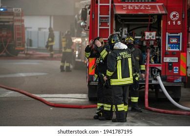 VILLANOVA DEL GHEBBO, ITALY 23 MARCH 2021: Firefighters emergency in the city
