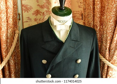 Villarceaux; France - july 28 2018 : valet uniform in the historical castle