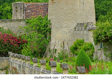 Villarceaux, France - june 9 2019 : medicinal plants garden in the historical castle
