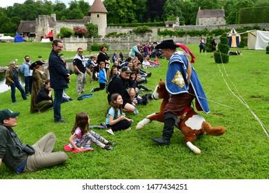 Villarceaux, France - june 9 2019 : party in the historical castle park