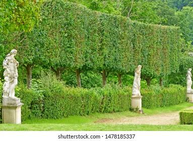 Villarceaux, France - june 9 2019 : the historical castle park