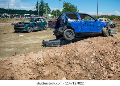 Villareggia, Italy- July 22, 2018: The Demolition Derby was born around the 60s in America, is a car rally where the aim is to destroy opponents through the ramming, is usually celebrated