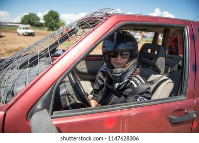 Villareggia, Italy- July 22, 2018: The Demolition Derby was born around the 60s in America, is a car rally where the aim is to destroy opponents through the ramming, is usually celebrated during vill