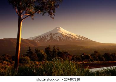 Villarica, volcano in Patagonia, Chile