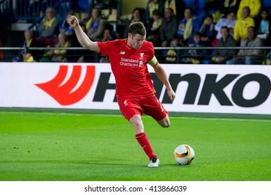 VILLARREAL, SPAIN - 28 APR: James Milner plays at the Europa League semifinal match between Villarreal CF and Liverpool FC at the El Madrigal Stadium on April 28, 2016 in Villarreal, Spain.