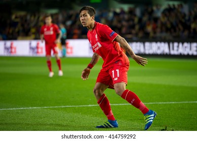 VILLARREAL, SPAIN - 28 APR: Roberto Firmino plays at the Europa League semifinal match between Villarreal CF and Liverpool FC at the El Madrigal Stadium on April 28, 2016 in Villarreal, Spain.
