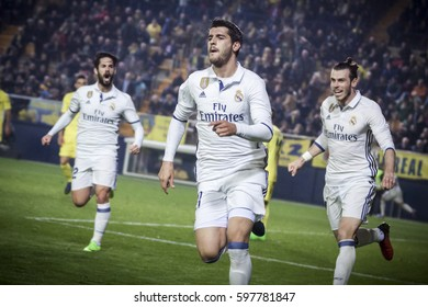 VILLARREAL, SPAIN - FEBRUARY 26: (C) Morata celebrates a goal during La Liga match between Villarreal CF and Real Madrid at Estadio de la Ceramica on February 26, 2017 in Villarreal, Spain