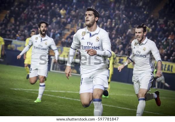 VILLARREAL, SPAIN - FEBRUARY 26: (C) Morata celebrates a goal during La Liga match between Villarreal CF and Real Madrid at Estadio de la Ceramica on February 26, 2017 in Villarreal, Spain