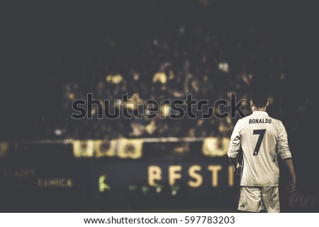 VILLARREAL, SPAIN - FEBRUARY 26: Cristiano Ronaldo during La Liga match between Villarreal CF and Real Madrid at Estadio de la Ceramica on February 26, 2017 in Villarreal, Spain