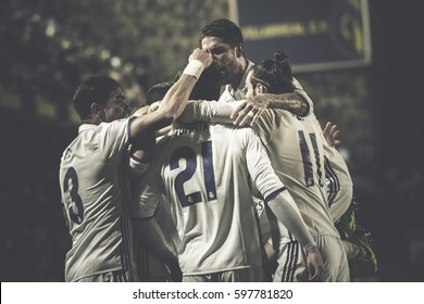 VILLARREAL, SPAIN - FEBRUARY 26: Madrid players celebrate a goal during La Liga match between Villarreal CF and Real Madrid at Estadio de la Ceramica on February 26, 2017 in Villarreal, Spain
