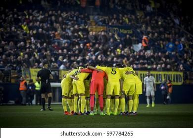VILLARREAL, SPAIN - FEBRUARY 26: Villarreal players during La Liga match between Villarreal CF and Real Madrid at Estadio de la Ceramica on February 26, 2017 in Villarreal, Spain