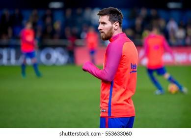 VILLARREAL, SPAIN - JAN 8: Leo Messi plays at the La Liga match between Villarreal CF and FC Barcelona at El Madrigal Stadium on January 8, 2017 in Villarreal, Spain.