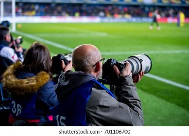 VILLARREAL, SPAIN - JAN 8: The photographers take pictures at the La Liga match between Villarreal CF and FC Barcelona at El Madrigal Stadium on January 8, 2017 in Villarreal, Spain.