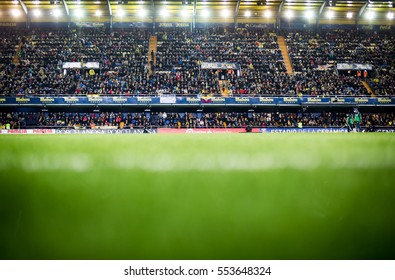 VILLARREAL, SPAIN - JANUARY 8: Spectators during La Liga soccer match between Villarreal CF and FC Barcelona at Estadio de la Ceramica on January 8, 2016 in Villarreal, Spain