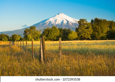 Villarrica Volcano  in the Araucania Region at southern  Chile, South America