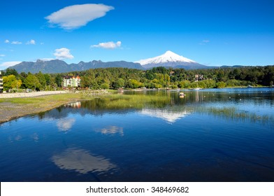 Villarrica Volcano, viewed from Pucon, Chile.