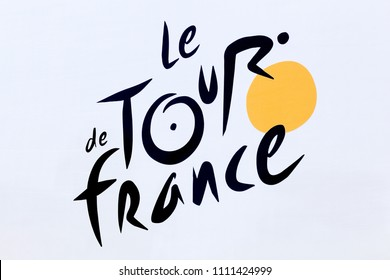 Villars, France - July 16, 2016: Logo of Tour de France cycling on a wall. The Tour de France is an annual multiple stage bicycle race primarily held in France
