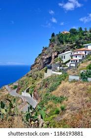Villas built into the hillside in the upmarket area of Garajau, Madeira Island, Portugal.