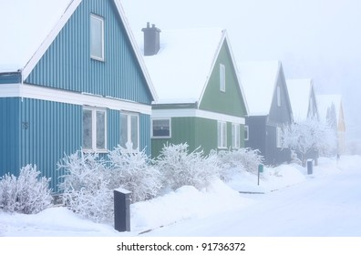 Villas in a extremely cold and frosty winter conditions.