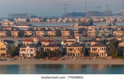 Villas on the artificial island of Palm Jumeirah. Dubai, UAE.