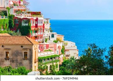 Villas in Positano town at Tyrrhenian sea, Amalfi coast, Italy