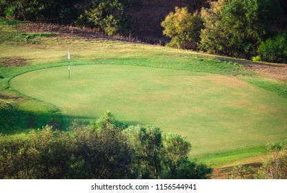 Villasimius, Ialy - August 18, 2018: Detail of the golf course of Villasimius, Sardinia, Italy.
