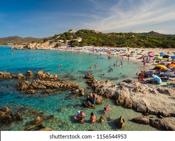 Villasimius, Italy - August 17, 2017: Transparent and turquoise sea in Porto Giunco, Villasimius. Sardinia, Italy