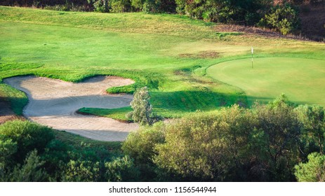 Villasimius, Italy - August 18, 2017: Detail of Villasimius golf course, Sardinia, Italy.