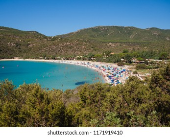 Villasimius, Italy - August 18, 2017: Transparent and turquoise sea in Cala Sinzias, Villasimius. Sardinia Italy