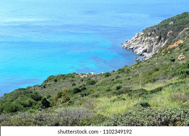 Villasimius, Italy - Transparent and turquoise sea in  Villasimius. Sardinia, Cagliari - Wild nature