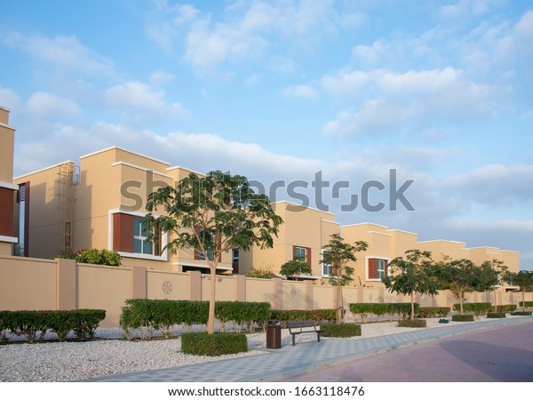 Villas/townhouses gated compound development in a upper middle class suburb.