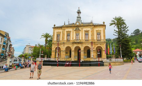 Villaviciosa, Spain - July 19, 2014: City Hall of Villaviciosa, a town in Asturias, Spain, known as the most important municipality of Asturias in production of cider