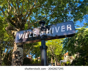 """""""Ville d'Hiver"""" street sign at the entrance of the famous Arcachon district of the winter city"""