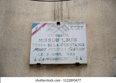 "Ville Franche Sur Mer, Cote D"" Azur, June 2018, A memorial plaque to French resistance fighter Louis Missud."