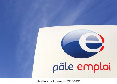Villefranche, France - January 24, 2016: Pole emploi is a French governmental agency which registers unemployed people, helps them find jobs and provides them with financial aid