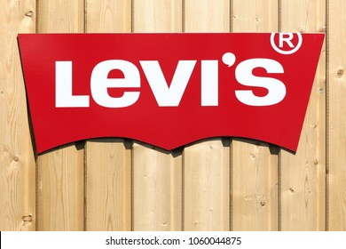 Villefranche, France - June 11, 2017: Levi Strauss logo on a wall. Levi Strauss founded in 1853, is a privately held American clothing company known worldwide for its Levi's  brand of denim jeans