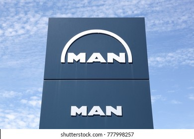 Villefranche, France - June 11, 2017: Man is a German mechanical engineering company and parent company of the MAN Group. MAN supplies trucks, buses, diesel engines and turbomachinery