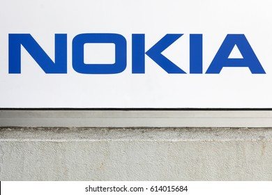 Villefranche, France - March 13, 2017: Nokia logo on a wall. Nokia is a Finnish multinational communications and information technology company