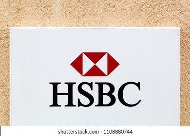 Villefranche, France - March 18, 2018: HSBC logo on a wall. HSBC Holdings is a British multinational banking and financial services company headquartered in London, United Kingdom