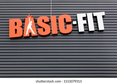 Villefranche, France - September 22, 2019: Basic-Fit logo on a wall. Basic-Fit is the largest fitness chain in Europe