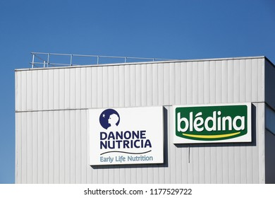 Villefranche, France - September 8, 2018: Bledina manufacturing plant in France. Bledina is the French leader in baby nutrition, with about 50% market share and it is a company of Danone group