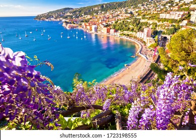 Villefranche sur Mer idyllic French riviera town colorful beach view, Alpes-Maritimes region of France