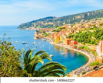 VILLEFRANCHE-SUR-MER, FRANCE - MAY 8, 2013: Seaside town on the French Riviera. Landscape of the Cote d'Azur, Villefranche-sur-Mer, France
