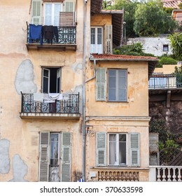 VILLEFRANCHE-SUR-MER, FRANCE, on JANUARY 8, 2016. The typical architectural details. Villefranche-sur-Mer - one of numerous resorts of French riviera, the suburb of Nice