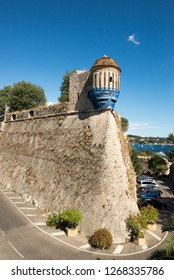 Villefranche-sur-Mer/France - August 04 2016: Allée du Colonel Duval alley. Villefranche-sur-Mer is a commune in the Alpes-Maritimes department on the French Riviera.