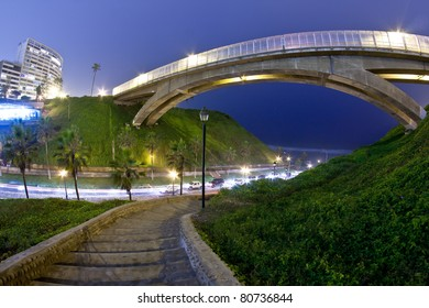 Villena bridge in miraflores, Lima Peru,  Night shot